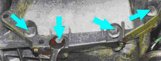 Рис 5. Болты крепления масляного картера к картеру сцепления Reno Logan
