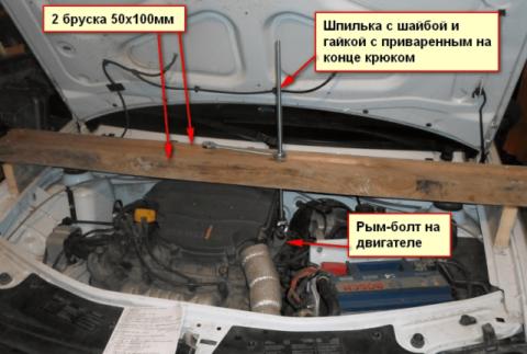 Рис. 9 Способ подвески двигателя для замены сцепления