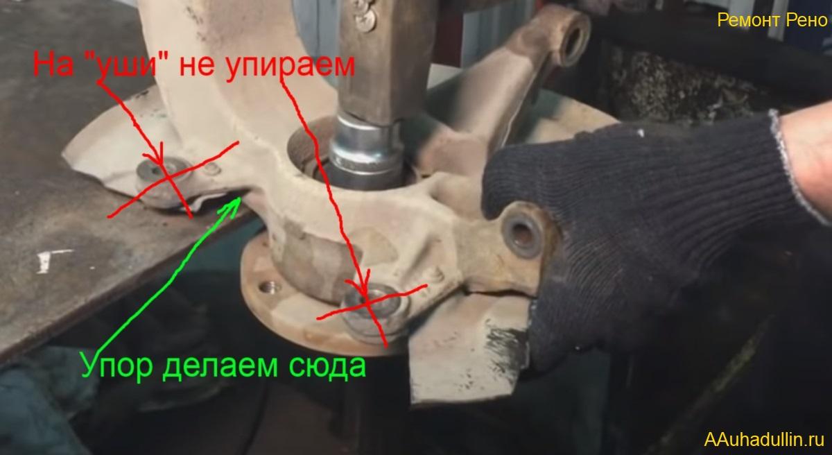 Поворотный кулак на Рено Меган 2, выпрессовка передней ступицы